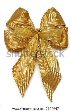 Gold Christmas gift bow with jingle bells, isolated on white