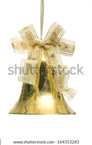 Gold christmas jingle bells. Isolated on a white background. - stock photo