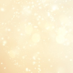 Gold christmas lights background with sparkling bokeh. Abstract defocused boke glittering shimmer