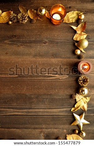 Gold Christmas ornaments with candles #155477879
