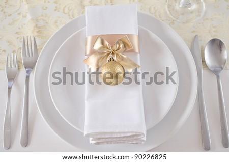 Gold Christmas table setting