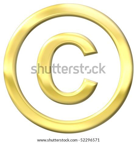 Gold chrome copyright symbol - stock photo