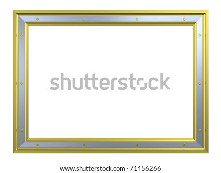 Gold-chrome frame isolated on white background. Computer generated 3D photo rendering.