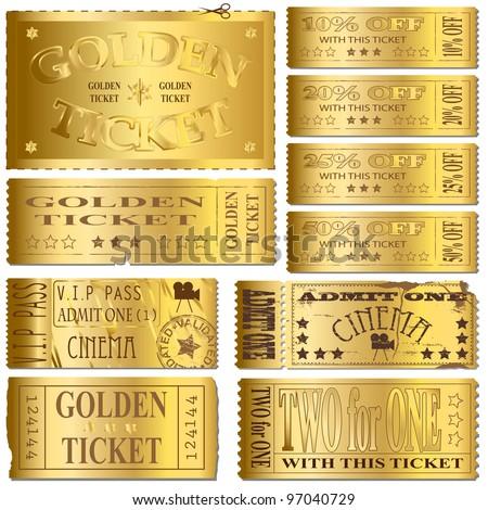 Gold cinema and sale ticket vectors
