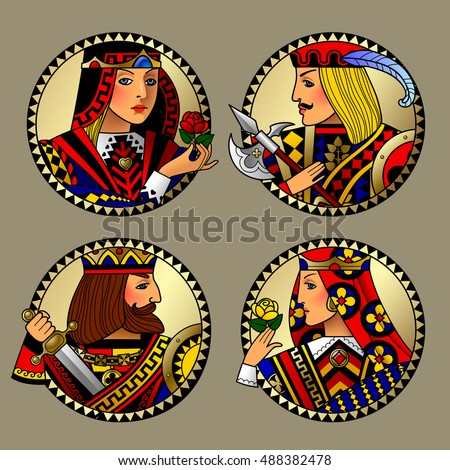 Gold circles with playing cards characters. Colorful original vintage design. Contains the Clipping Path