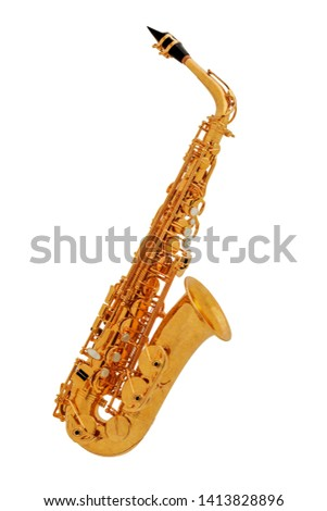 Gold classic musical instrument saxophone isolated on white background. Music instruments series