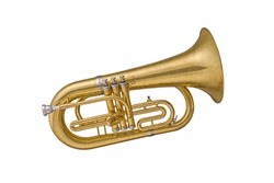 Gold classical wind musical instrument cornet isolated on white background. Music instruments series