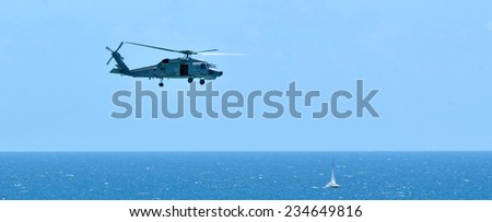 GOLD COAST, AUS - NOV 10 2014:Australian sea search and rescue Black Hawk helicopter.It\'s a multi-role helicopter providing air mobility for troops and equipment in the battle zone.