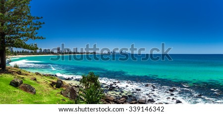 GOLD COAST, AUS - OCT 4 2015: Gold Coast skyline and surfing beach visible from Burleigh Heads, Queensland #339146342