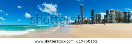 Gold Coast, Australia, 27 Jan 2017: Surfers Paradise beach, Gold Coast, Australia