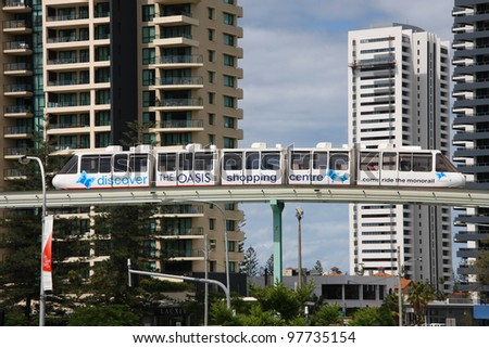GOLD COAST, AUSTRALIA - MARCH 23: Monorail train on March 23, 2008 in Gold Coast, Australia. The short 1.3km monorail route in Broadbeach connects popular tourist spots (shopping mall, casino).