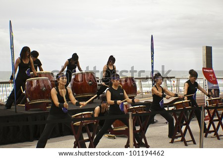 GOLD COAST - AUSTRALIA - 18 MARCH: Unidentified group of drummers performing on Japan & Friends Day festival. 18 March 2012 on Gold Coast, Australia. - stock photo
