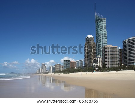 Gold Coast City in Queensland, Australia. Pacific Ocean waterfront. Beach cityscape with famous Q1 skyscraper.