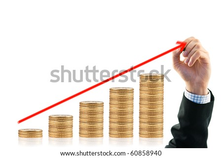 gold coin and businessman hand isolated