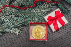 Gold coin bitcoin is in a gift box on the table with a spruce branch in the snow and red beads. Beautiful Christmas, new year background with bitcoin. Great gift. Cryptocurrency.