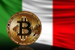 gold coin bitcoin on a background of a flag Italy