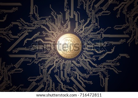 Gold coin Bitcoin on a black background. The concept of crypto currency. Blockchain technology. Mixed media.