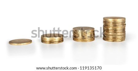 gold coin diagram isolated on white