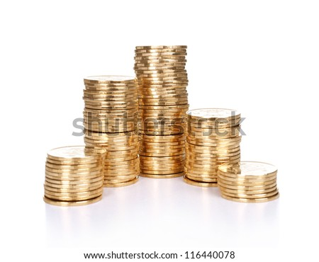 gold coin stack isolated on white