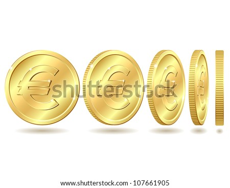 Gold coin with euro sign with different angles.