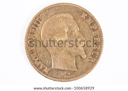 gold coin with Napoleon, old french currency - stock photo