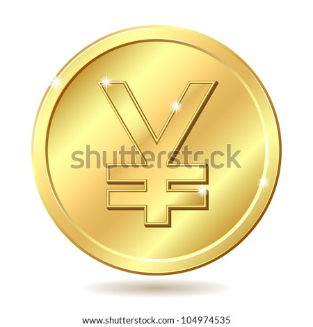 Gold coin with yen sign. Raster illustration isolated on white background