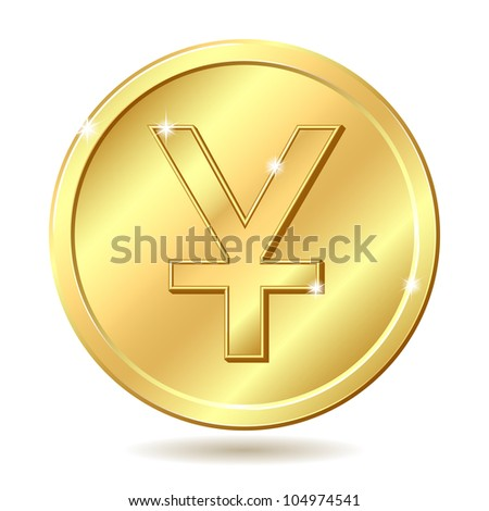 Gold coin with yuan sign. Raster illustration isolated on white background