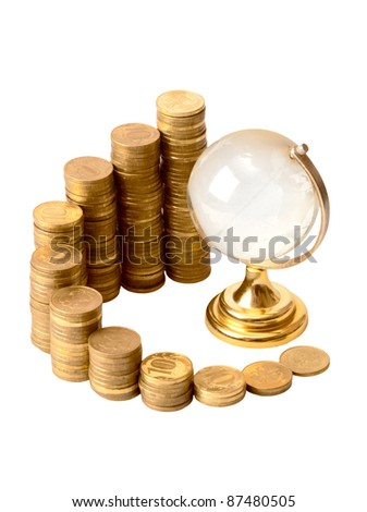 Gold coins and crystal globe isolated on a white background