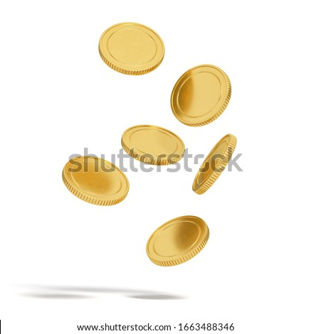 gold coins are falling isolated on white background. 3d rendering
