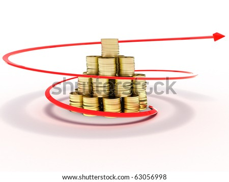Gold coins around which raises a red arrow on white background