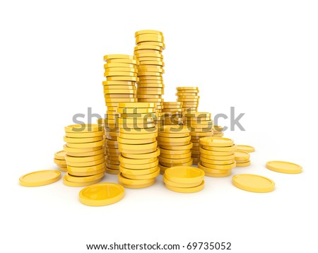 Gold coins  3D. Isolated on white background