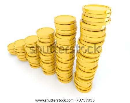Gold coins  3D. Isolated on white background. Growth