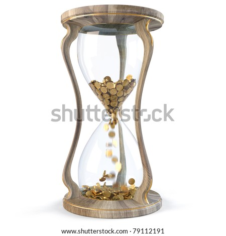 Gold coins in wooden hourglass crumble down. isolated on white.