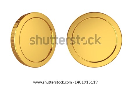 Gold coins isolated on white background, 3D rendering Foto stock ©