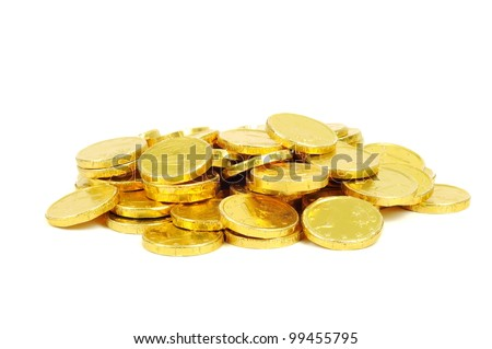 Gold coins of one euro, isolated on white