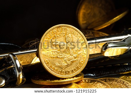 Gold coins treasure in purse