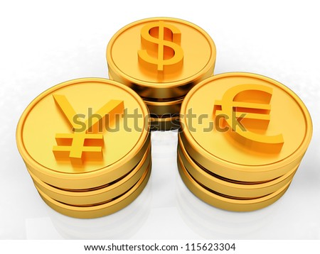 gold coins with 3 major currencies