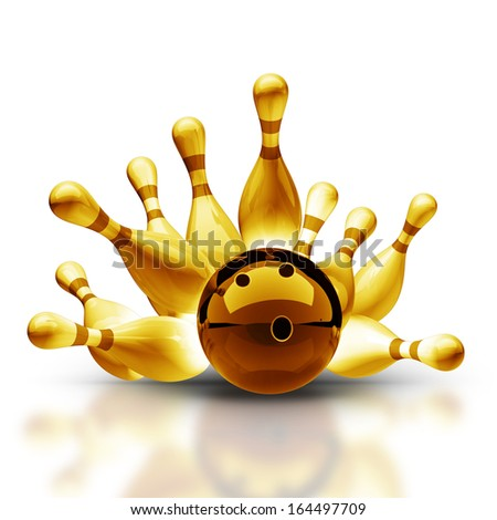 Gold collection. Bowling Ball crashing into the pins on vintage isolated on white background High resolution 3d