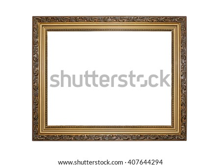 Gold color picture frame isolated on white. #407644294