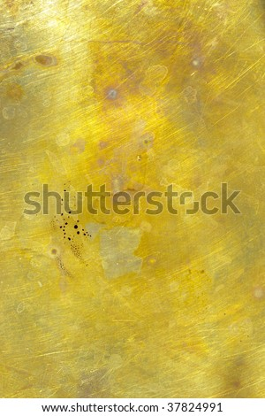 Gold Color Splatter Stained Metal Oxidized Surface