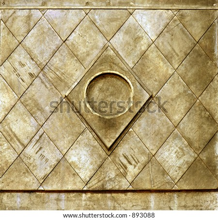 Gold colored metal architectural detail