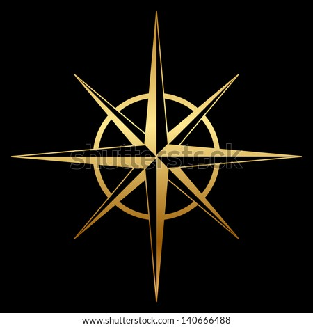 Gold compass rose icon