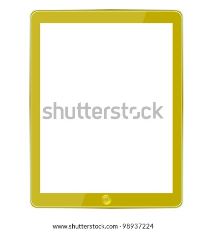gold computer tablet isolated on white