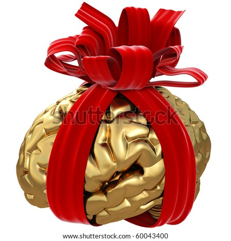 gold cord wrapped a red ribbon. isolated on white - stock photo