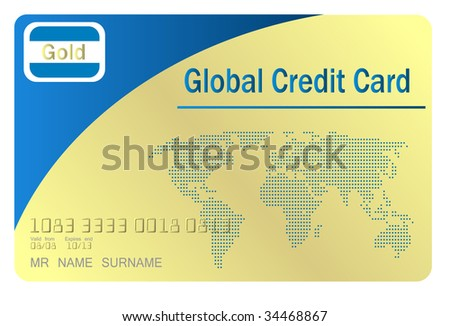 gold credit card , concept with earth binary map (jpg) - stock photo