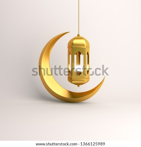 Gold crescent moon and arabic hanging lamp on white background studio lighting. Copy space text, design creative concept for islamic celebration day ramadan kareem or eid al fitr adha. 3d rendering.