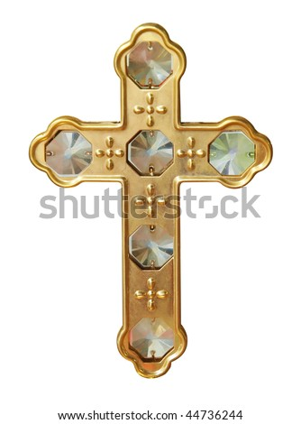 Gold Cross with Crystals isolated          with clipping path