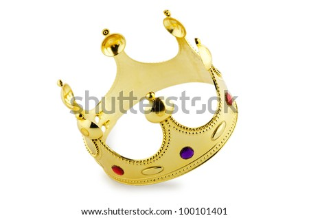 Gold crown isolated on the white