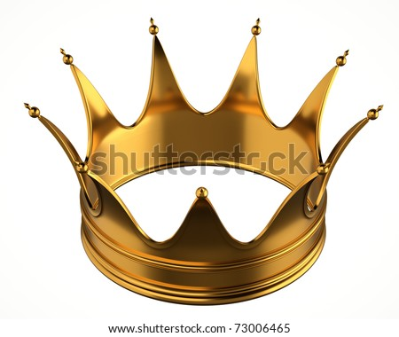 Gold crown isolated on white background.