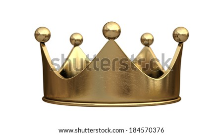 Gold crown isolated on white background High resolution